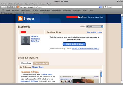 Página principal de Blogger