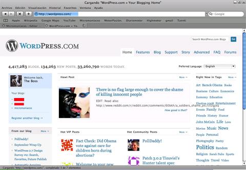 Página principal de WordPress.com